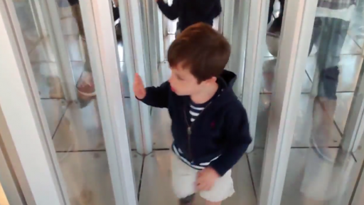 Adorable Little Boy 'Gets Stuck' in a 'House of Mirrors'