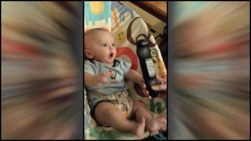 Adorable Baby Can't Control Excitement Over TV Remote