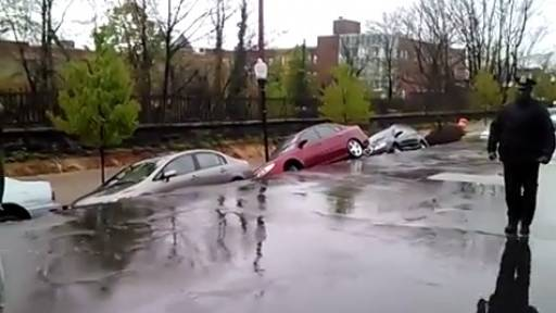 Baltimore Landslide Swallows Multiple Cars