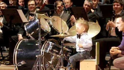 Three-Year-Old Drummer Leads Adult Brass Band
