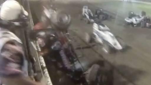 Close Call for Flagman During Sprint Car Race