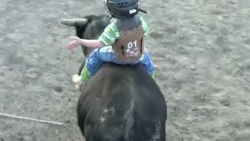 Little Boy Has the Cutest Bull Riding Experience