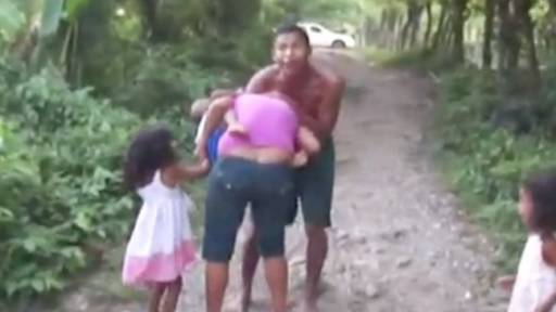 Horrifying Footage Shows Father Attacking Mother and Children