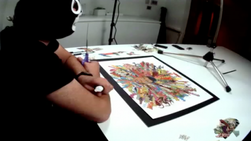 Time-Lapse of a Famous Masked Collage Artist