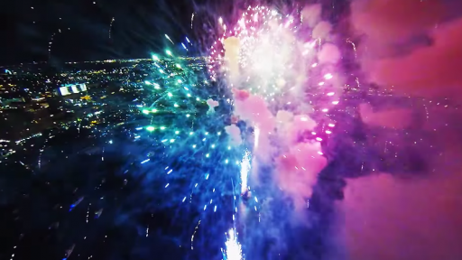 Awesome Fireworks Show Seen From Up Above