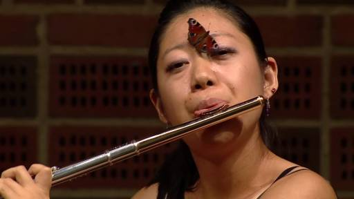 Butterfly Finds Prime Seating to Enjoy Classical Concert