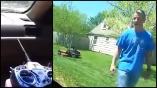 Prank Victim Goes for a Crazy Ride on a Lawn Mower