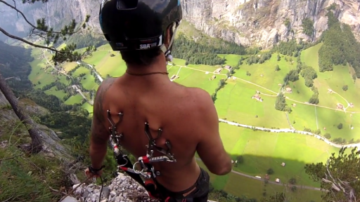 Hooked in for a BASE Jump