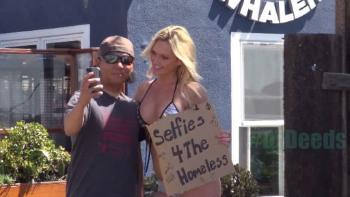 Taking Selfies With a Bikini-Clad Blonde for a Good Cause