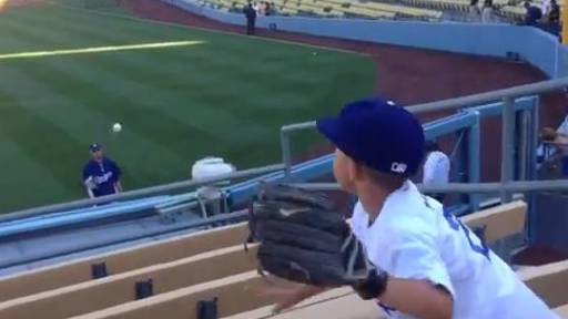 LA Dodgers Pitcher Plays Catch With Young Fan in the Stands