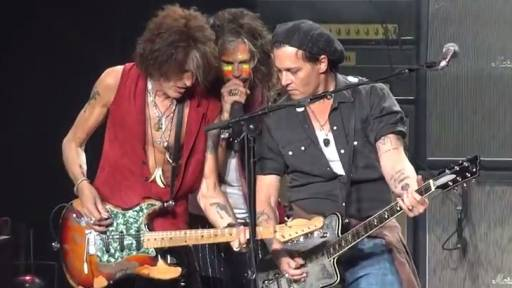 Johnny Depp Kept the Train a Rolling With Aerosmith in Concert