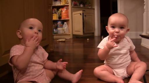 Twin Babies Can't Get Enough Marshmallows