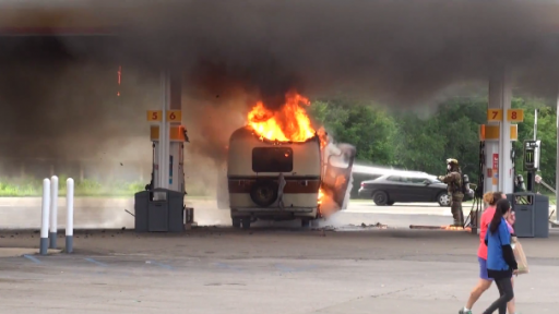 Motorhome Erupts into Flames at Gas Station
