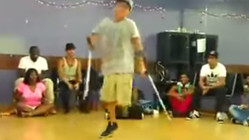 Inspiring Performance by One-Legged Breakdancer