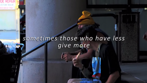 Homeless Man Shares His Pizza with a Stranger