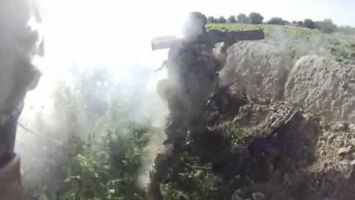 US Soldier Hit with Backblast from Rocket