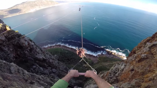 Rope Swing BASE Jump With a Gorgeous View