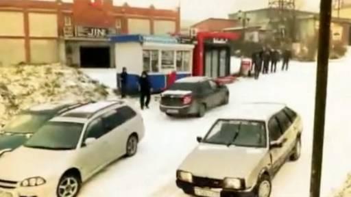 Snowfall Turns Town into an Ice Skating Rink