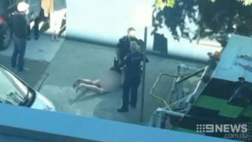 Naked Man Tasered After Attacking Female Cop