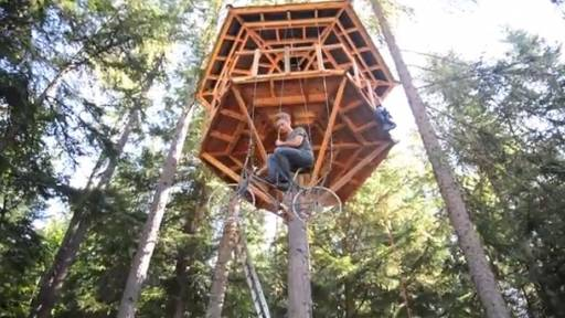 A Kid's Dream Tree House Complete With Bicycle Elevator