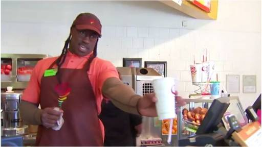 Vernon Davis Works the Counter at Jumba Juice While Undercover