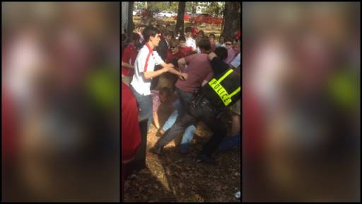 Fists Fly During Tailgates for University of Arkansas Football
