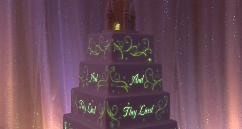 tell your own fairy tale with a disney projection mapping wedding cake rtm rightthisminute. Black Bedroom Furniture Sets. Home Design Ideas