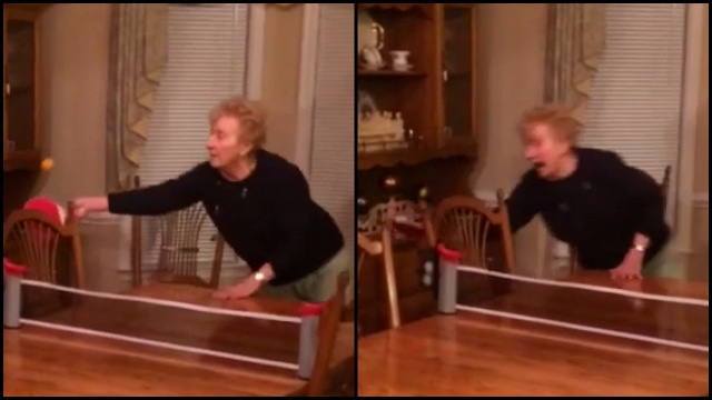 Grandma Goes Hard On The Ping Pong Table A Little Too