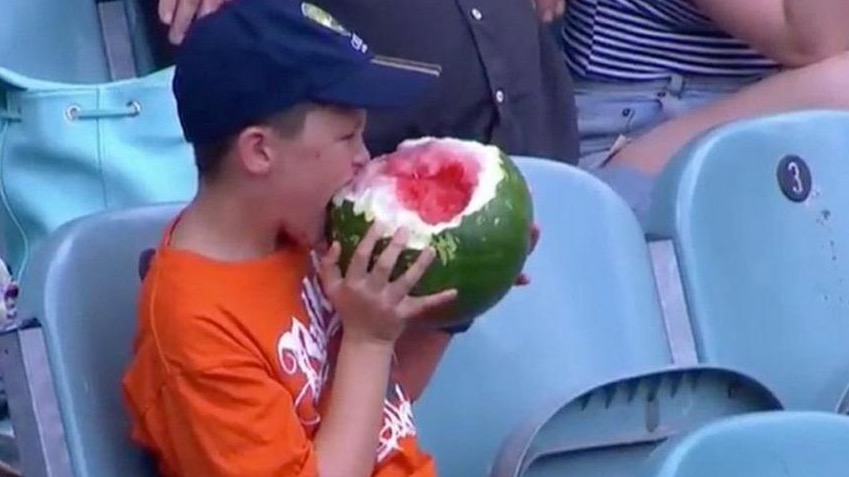 Kid Eating Watermelon At Cricket Match