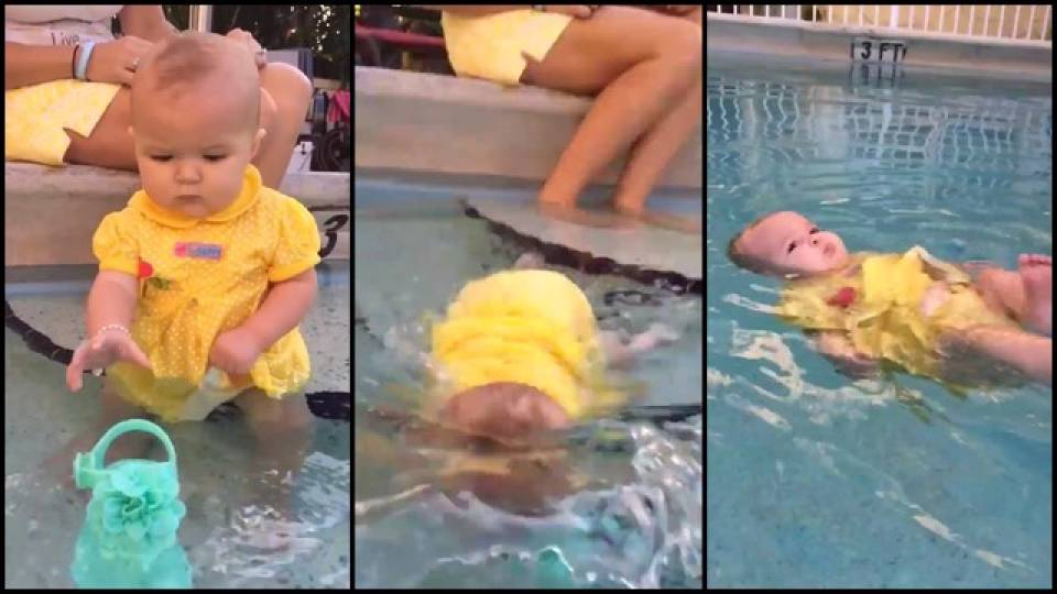 6 month old baby learning to swim will give you mixed emotions rtm rightthisminute 3 month old baby swimming pool