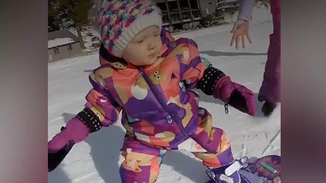 baby snowboards like a pro rtm rightthisminute