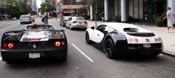 Incroyable Bugatti And Ferrari Show Off On Busy New York Streets | RTM    RightThisMinute