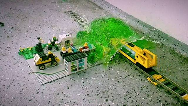 LEGO Train Bursts Water Balloon And Floods Toy Town | RTM ...