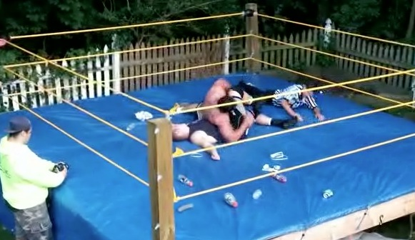 Epic Backyard Wrestling Match Ends With Some Drama | RTM - RightThisMinute - Epic Backyard Wrestling Match Ends With Some Drama RTM