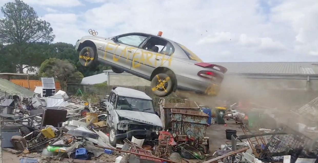 Car Soars Over a Pile of Scrap in 'Dukes of Hazzard' Moment