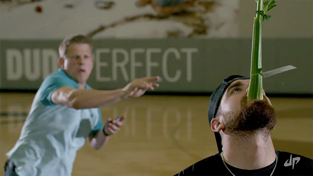 'dude perfect' meets magician with impressive card