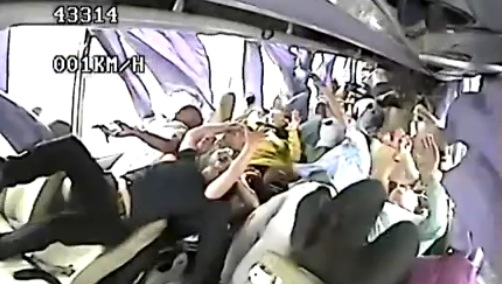 shocking footage of truck slamming into tourist bus from inside the bus rtm rightthisminute. Black Bedroom Furniture Sets. Home Design Ideas