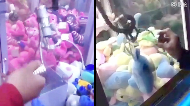 Guy 'Hacks' Claw Machine With Industrial Magnet | RTM - RightThisMinute