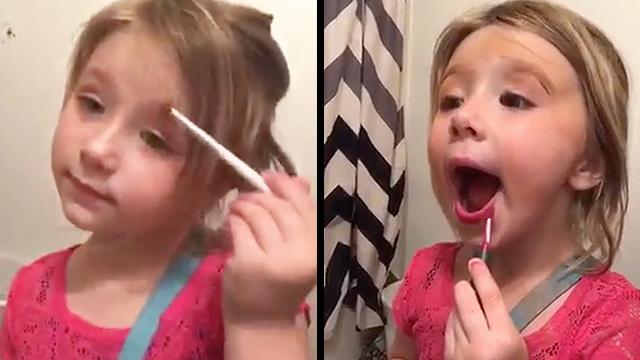 Little Girl Rocks Funny Makeup Tutorial   RTM - RightThisMinute