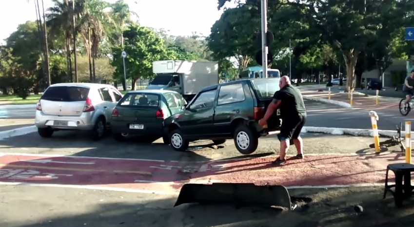 Man Lifts Car off Bicycle Path, Continues on His Way Like ...