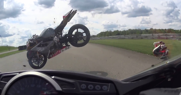 highspeed crash sends a motorcycle flying through the air