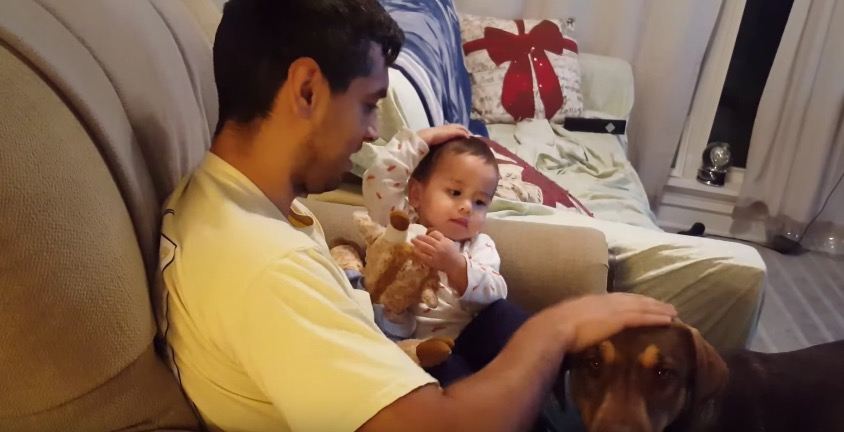 Toddler Teaches Dad To Pet Pooch Big Sister Baby Sister Play