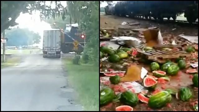Train Smashes Semi Truck Leaves Watermelon Massacre Rtm